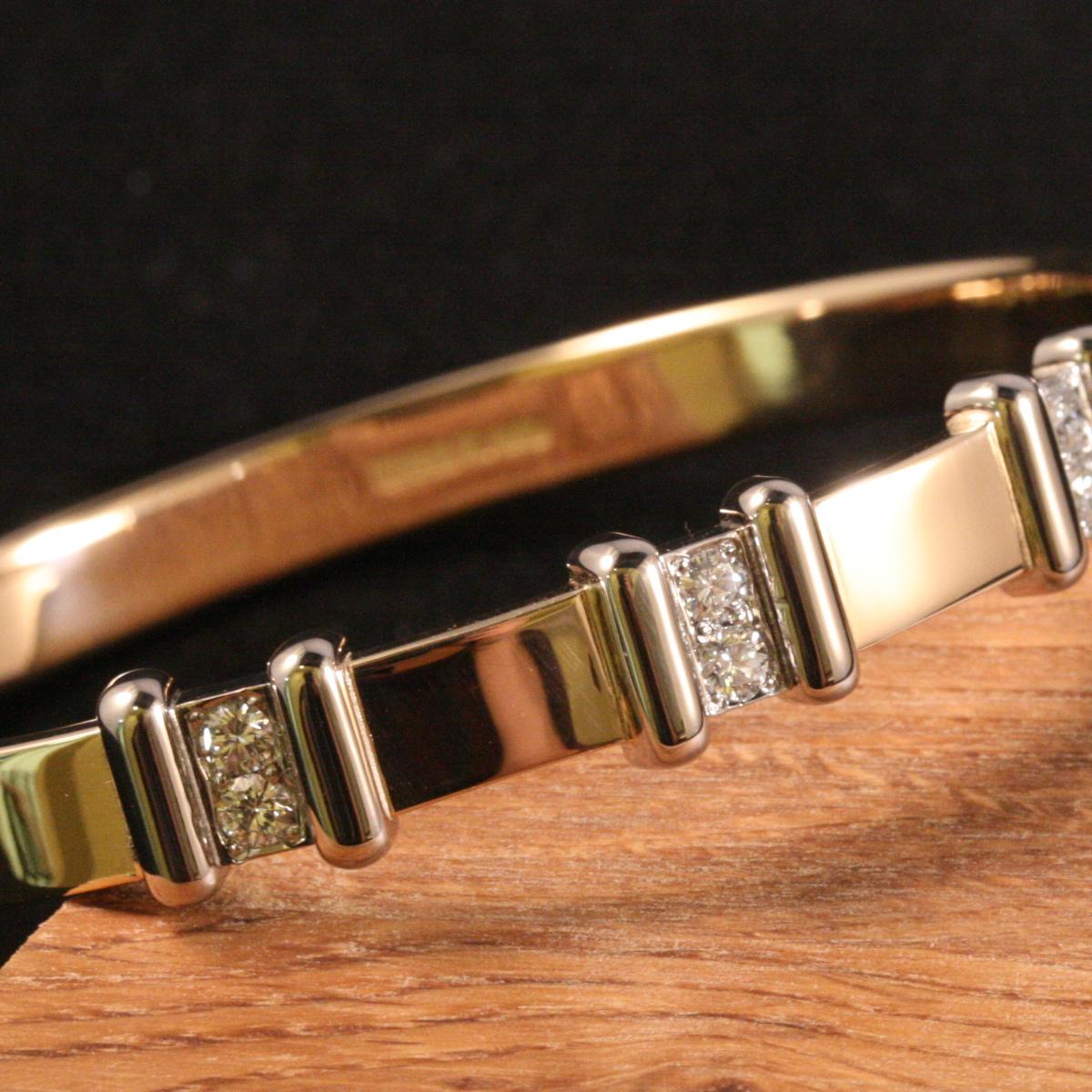 Armring, rödguldsarmband, diamantarmband