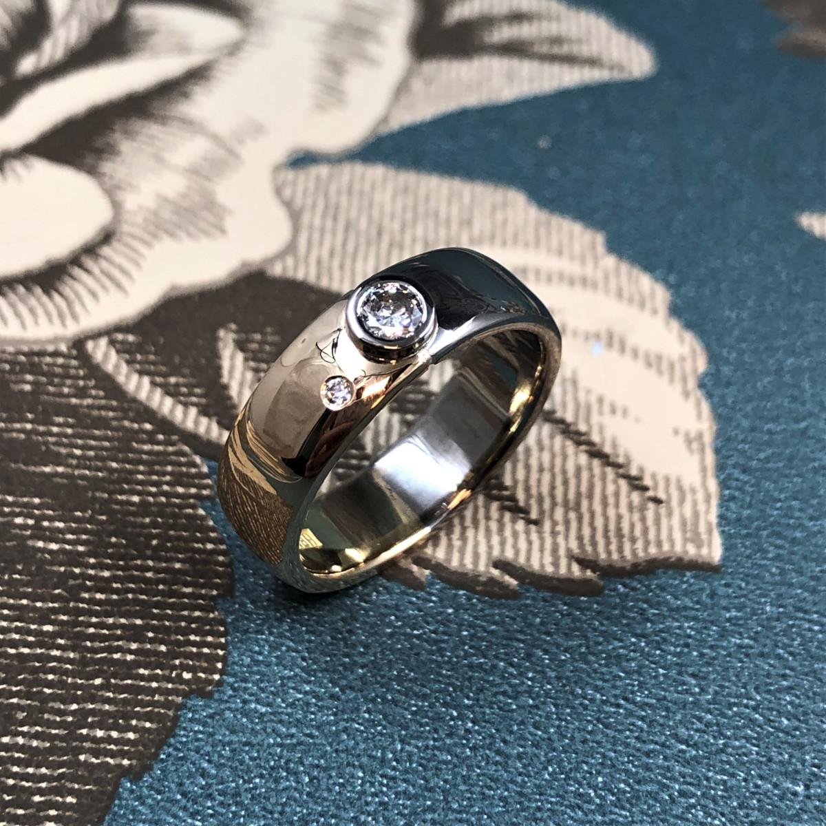 Diamantring, stenring, tvåfärgad ring