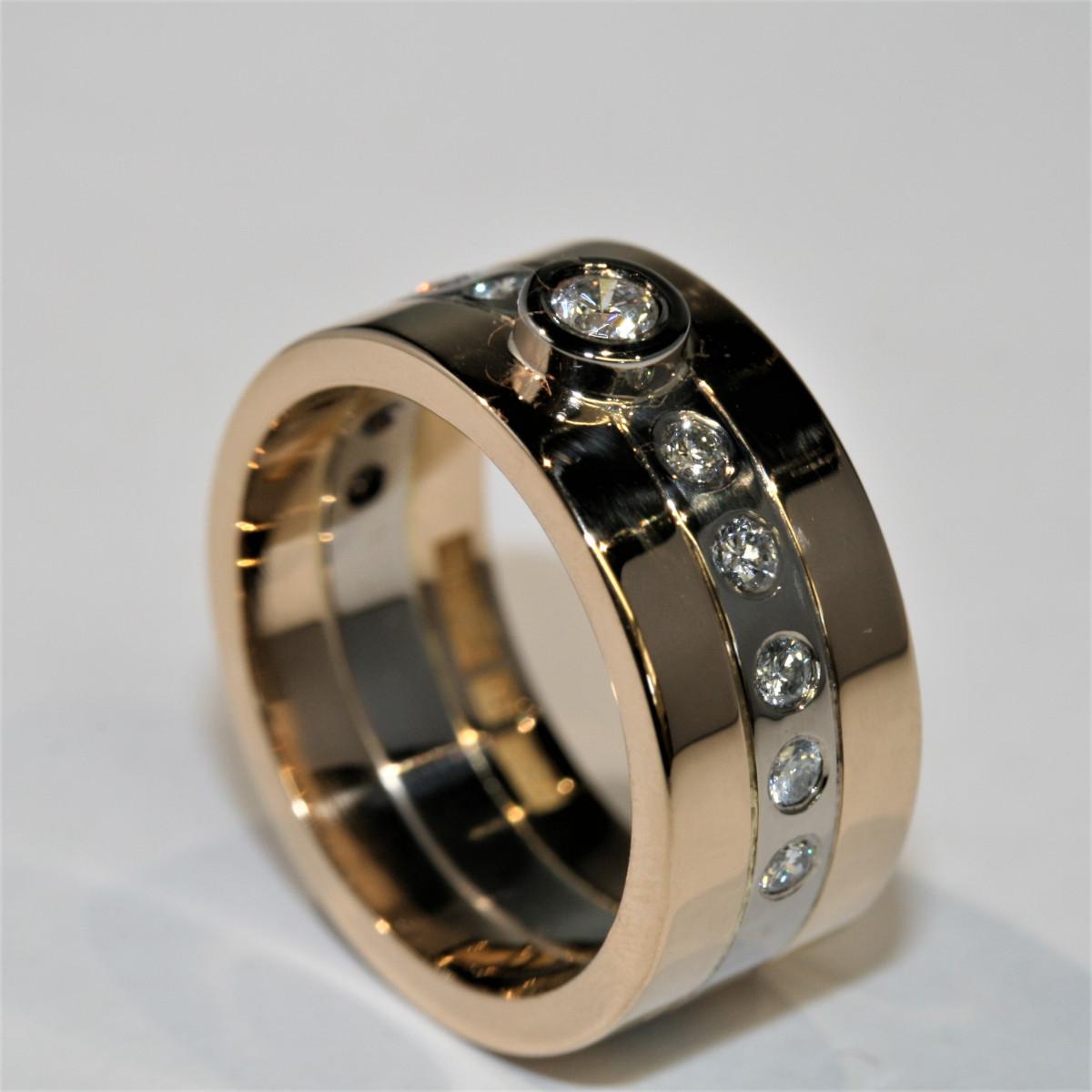 Diamantring, tvåfärgad ring, briljantring