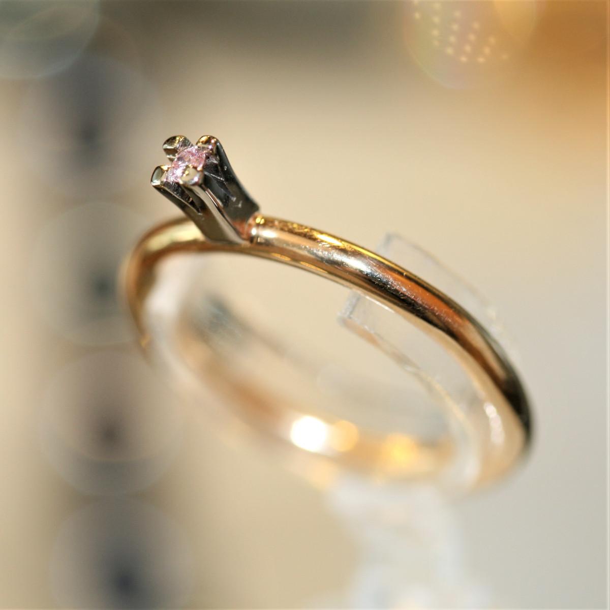 Rosa diamanter, enstensring, guldring