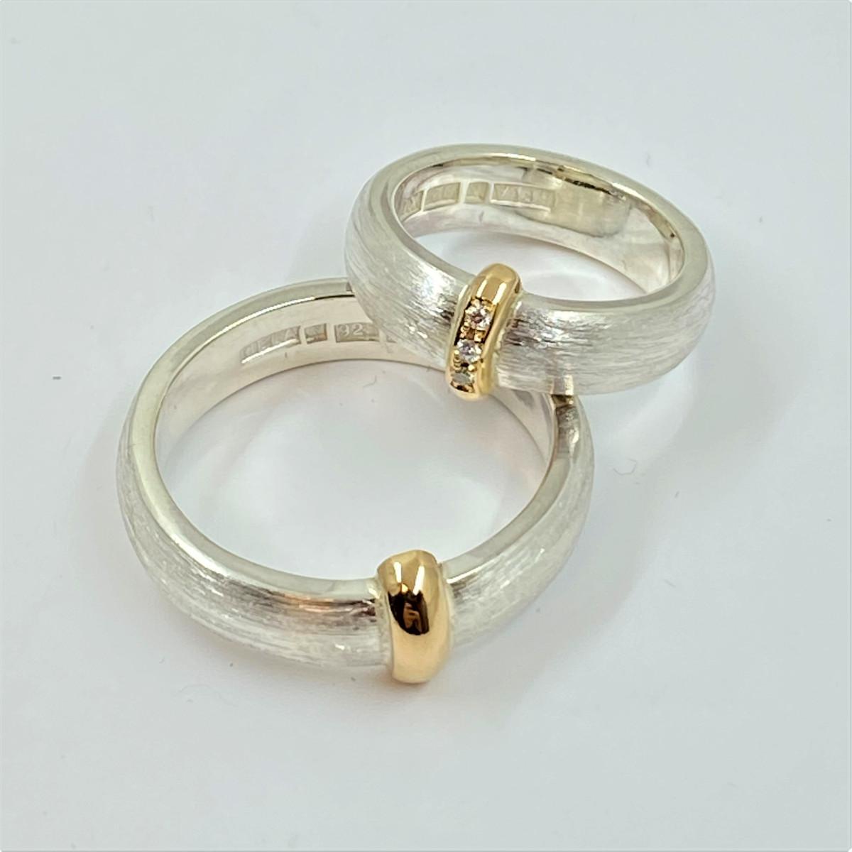 Silverringar med guld, förlovningsringar, dimantringar
