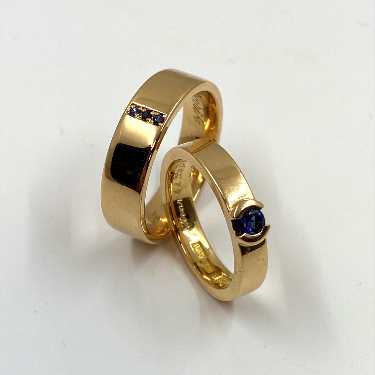 Safirringar, blåa stenar, ringar med blå safir