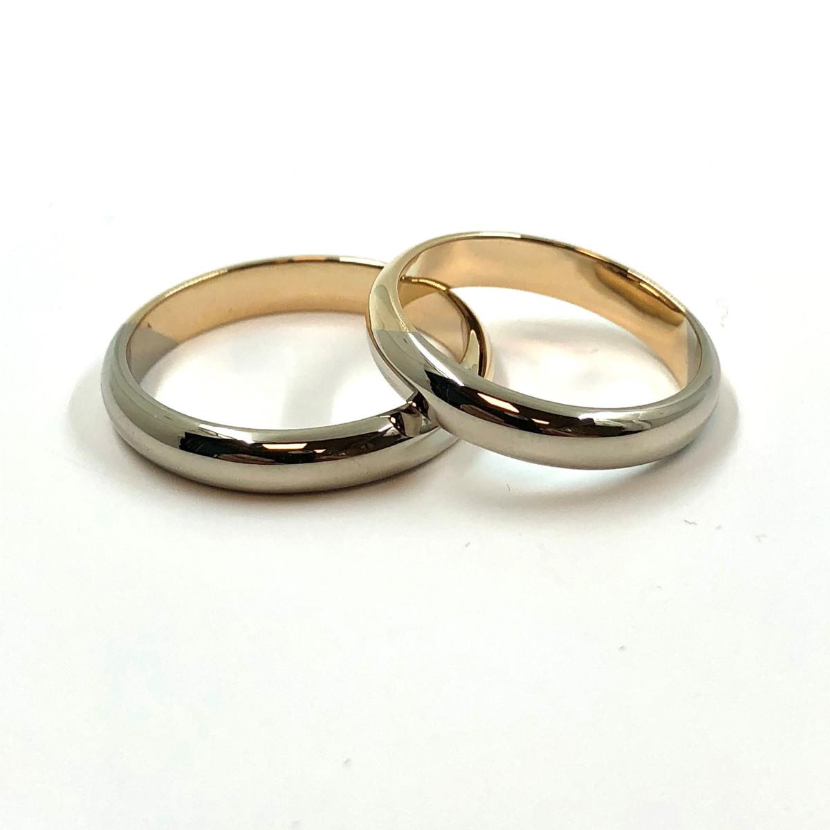 Ringar i rött och vitt guld, tvåfärgade ringar, förlovningsringar