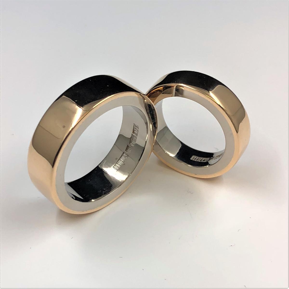 Flerfärgat guld, flerfärgade ringar, förlovningsringar