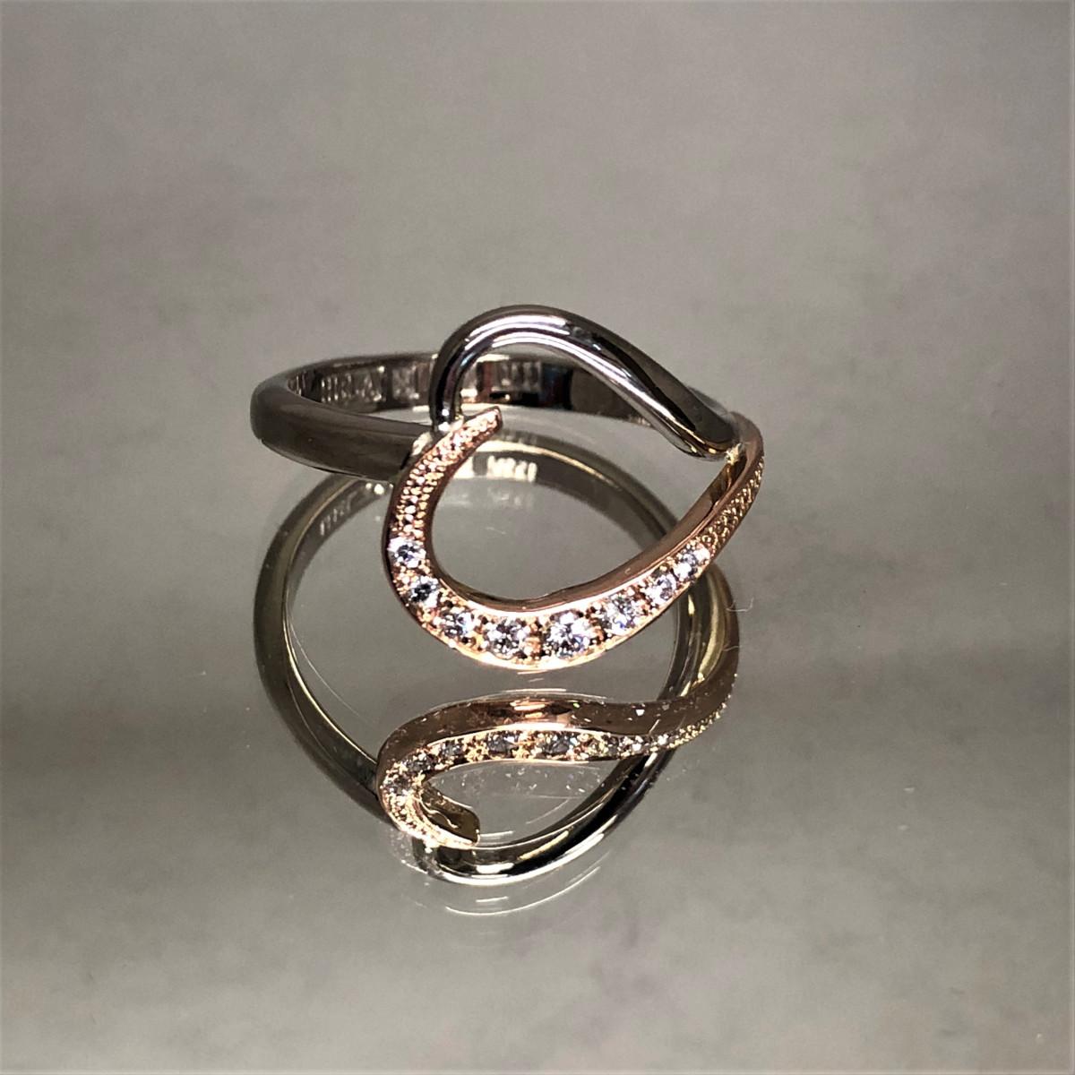 Tvåfärgad ring, hjärtring, diamantring