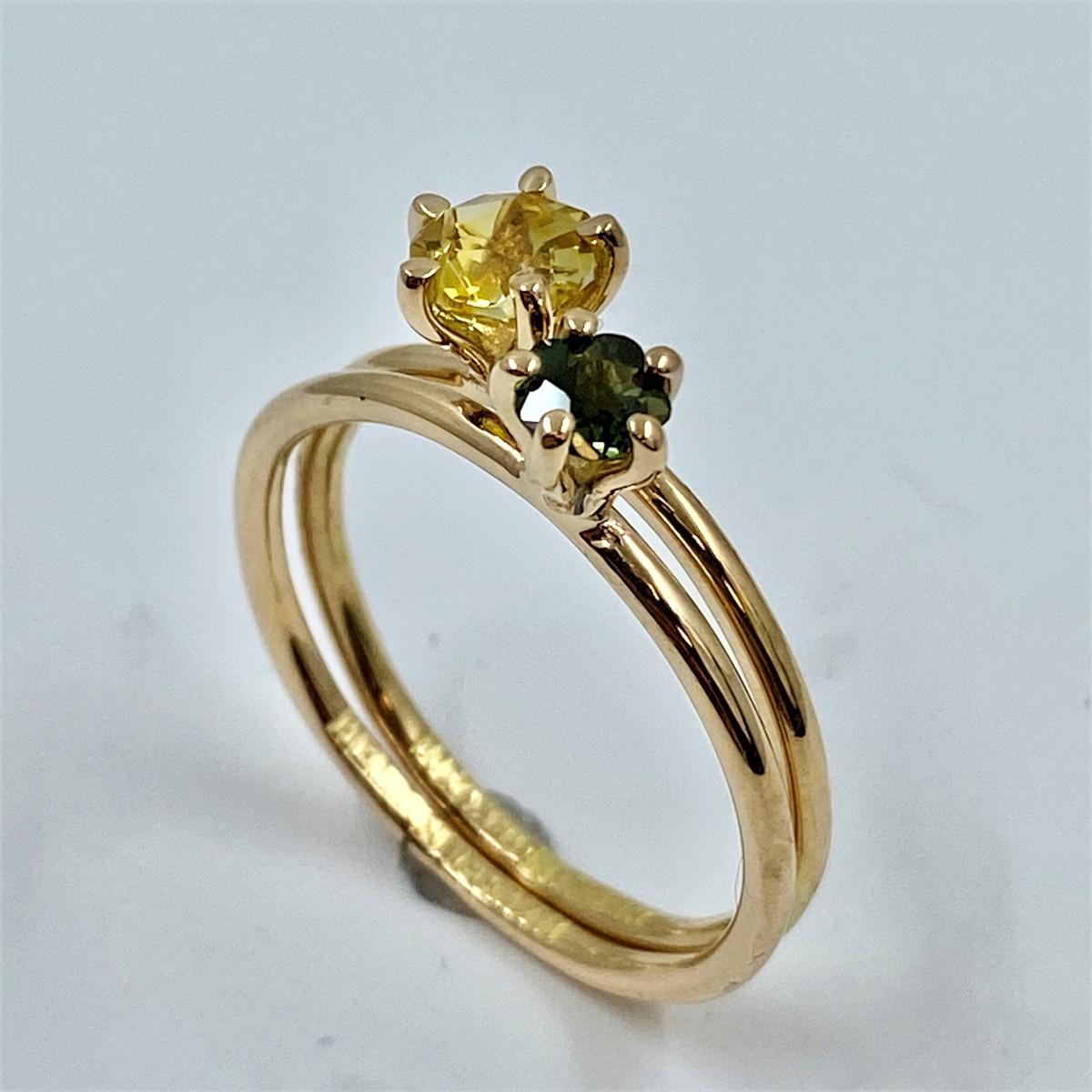 Safirring, stenring, gul ring, enstensring