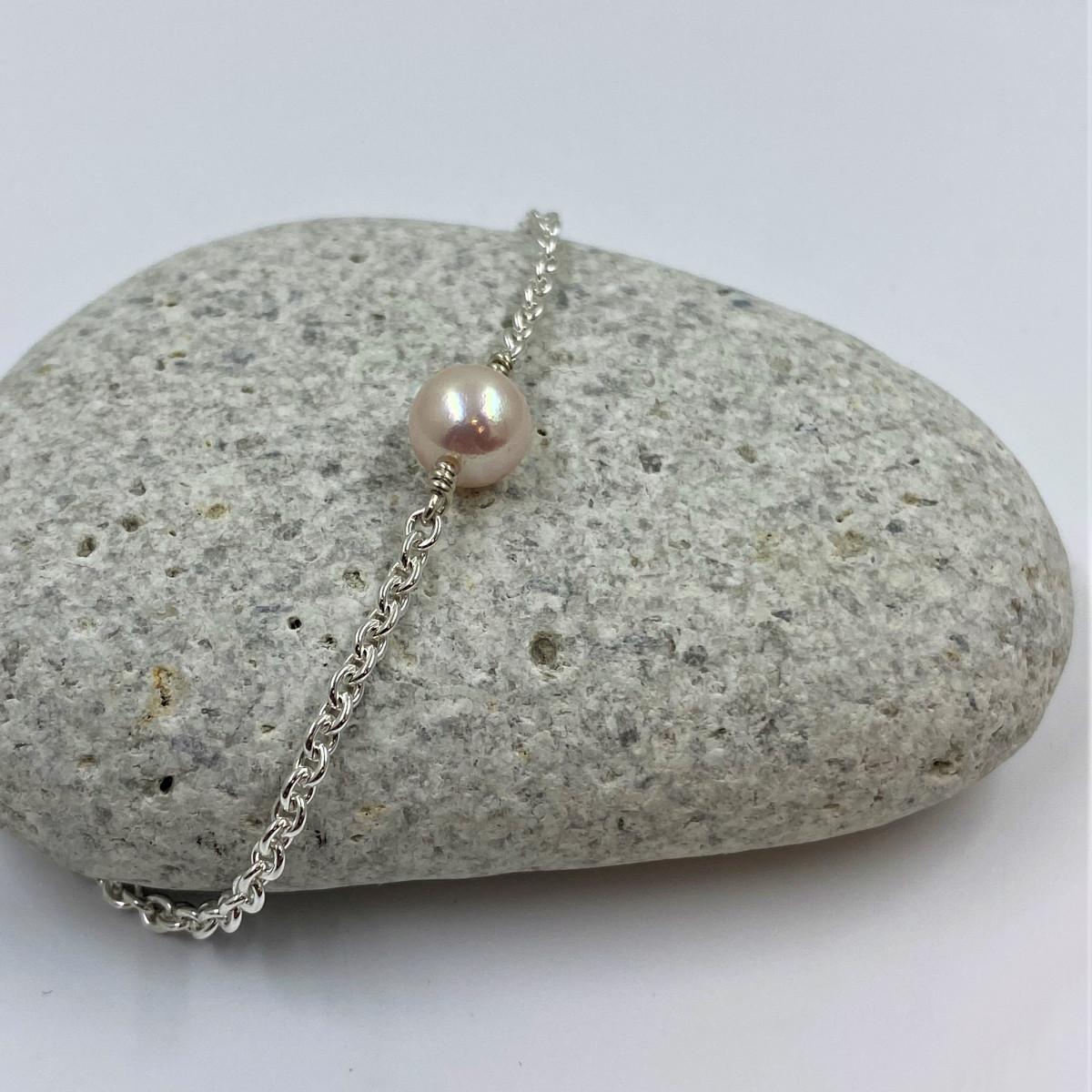 Silverarmband, armband i silver, sötvattenspärla