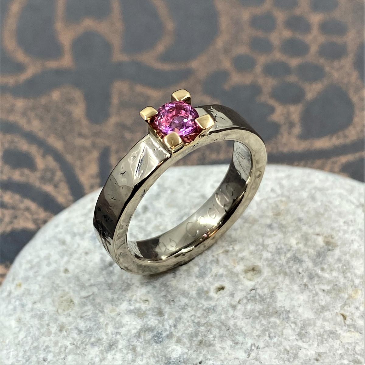 Rosa safirring, tvåfärgad ring, vigselring