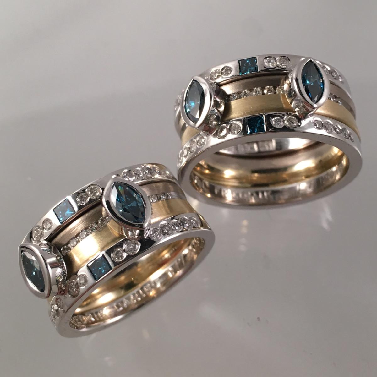 Flerfärgade ringar, förlovningsringar, herringar